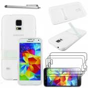 ebestStar - Coque Compatible avec Samsung S5 G900F, Galaxy S5 New G903F Neo Etui Housse Silicone Gel TPU avec Support Béquille + Stylet + 3 Films d'écran, Blanc [Appareil: 142 x 72.5 x 8.1mm, 5.1'']