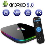 Android TV Box,Q Plus Android 9.0 TV Box 4GB RAM/32GB ROM H6 Quad-Core Support 2.4Ghz WiFi 6K HDMI DLNA 3D Smart TV Box