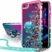 Miss Arts Coque iPhone Se 2020, iPhone 7/ iPhone 8,[Silverback] Fille Silicone Paillette Strass Bling Glitter de Luxe avec Support,Liquide Housse Etui