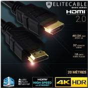 EliteCable - Câbles AV HDMI - Cable HDMI 2.0 20m 4K HDR UHD High Speed Ethernet 3D Audio ARC Lecteur Blu-Ray Xbox 360 PS3 PS4 TV