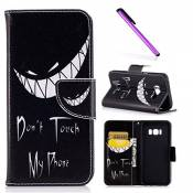 EMAXELERS Galaxy S8 Coque Papillons colorés PU Cuir Portefeuille Housse Swag Case Cover Coquille Coque pour Samsung Galaxy S8,Bad Smile