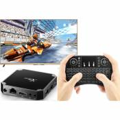 Wewoo Android TV Box X96 Mini Smart Android TVAndroid 7.1Quad Core Amlogic S905W2 Go + 16 Go2,4 GHz WiFiavec clavier à LED cou