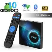 Android TV Box, T95 Android 10.0 TV Box Allwinner H616 Quadcore 2Go RAM 16Go ROM -Support 6K 3D 1080P 2.4/5.0GHz-Dual WiFi 10/100M