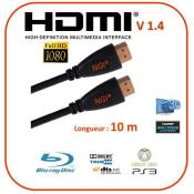 Cable HDMI Rond 10m 1.4V PRO 3D HIGH SPEED ETHERNET FULL HD 1080p