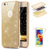 JAWSEU Etui iPhone 7,Coque iPhone 8 Transparent Silicone Gel Ultra Mince TPU 360 Degrés Full Body Protection Brillant Bling Glitter Paillette Flexible