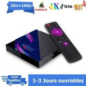 Android tv box android 10 H96 MINI V8 Smart TV BOX Dual Wifi 2Go 16Go RK3328A Netflix Google Store Boîte multimédia box Android