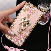Coque iPhone 6/6S Transparent Liquid Crystal Premium Souple TPU Silicone 360 Support Téléphone,Etsue iPhone 6/6S Paillette Strass Bling Glitter Ring A