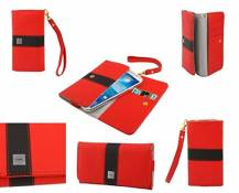 DFV mobile - Cover Premium with Color Line Design with Card Case Compatible avec ZTE Grand XM - Red