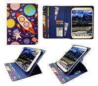 Sweet Tech Teeno 10.1 inch HD Tablet Cartoon Astronauts Universal 360 Degree Rotating PU Leather Wallet Case Cover Folio (9-10 inch) by