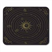 """Tapis de souris Astrology Solar System Model Space Sun Planets Stars Asteroids Black and Gold Astronomy Mouse pad Mats 9.5"""" x 7.9"""" for Notebooks,Deskt"""