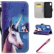 IPhone X Coque PU Cuir,iPhone X Case Bookstyle,Hpory élégant Retro Colorful Painted PU Cuir Cover Case Book Style Folio Flip Up Stand Fonction Support