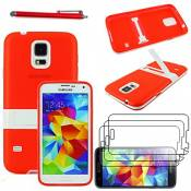 ebestStar - Coque Compatible avec Samsung S5 G900F, Galaxy S5 New G903F Neo Etui Housse Silicone Gel TPU avec Support Béquille + Stylet + 3 Films d'écran, Rouge [Appareil: 142 x 72.5 x 8.1mm, 5.1'']