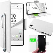 EbestStar - Coque Compatible avec Sony Xperia Z5 Premium, Z5 Prime Etui PU Cuir Housse Portefeuille Porte-Cartes Support Stand + Stylet, Blanc [Appare