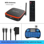 S9 max 4GB RAM 64GB ROM Android 10 TV Box RK3318 4K lecteur multimédia 2.4G 5G Wifi avec double antenne Google Play [27A1DDF]