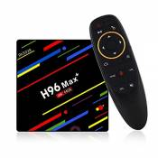 H96 Max Plus Android 9.0 OS TV Box 4GB RAM 64GB ROM Quad Core RK3328 CPU, 2.4G/5.0G WiFi LAN Bluetooth with Voice Remote Control