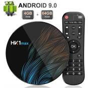 Android 9.0 TV Box HK1 Max 4 Go RAM 64 Go ROM RK3318 Quad-Core Dual WiFi 2,4 G-5 G BT 4.0 Ethernet H.265 USB 3.0 Supporte