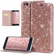JAWSEU Coque Huawei P10 Lite,Etui Huawei P10 Lite Cuir Paillettes,Glitter Bling Diamant Strass Ultra Mince Portefeuille PU Housse de Protection Magnétique Stand Leather Wallet Flip Case,Or Rose
