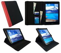 Sweet Tech Hanbaili 9.7 inch Tablet Black with Red Trim Universal 360 Degree Rotating PU Leather Wallet Case Cover Folio (9-10 inch) by