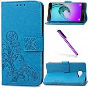 EMAXELERS Galaxy A5 2017 Coque Étui Lucky Clover Flip Leather Etui Wallet PU Cuir Portefeuille Housse Swag Coquille Coque pour Samsung Galaxy A5 2017,