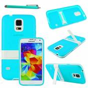 ebestStar - Coque Compatible avec Samsung S5 G900F, Galaxy S5 New G903F Neo Etui Housse Silicone Gel TPU avec Support Béquille + Stylet, Bleu [Appareil: 142 x 72.5 x 8.1mm, 5.1'']